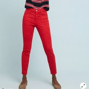 ANTHRO PILCRO High-Rise Skinny Ankle Red Jeans 30